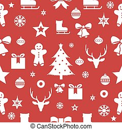 Christmas seamless pattern on a red background. Vector illustration