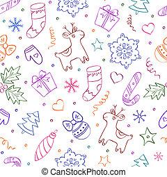 christmas seamless pattern on white background