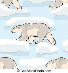 Christmas seamless pattern, Polar bear at the North Pole