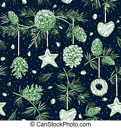 Christmas seamless pattern Realistic Botanical ink sketch of colorful fir tree garland with pine cone and xmas gingerbread cookies For design card flayer, menu, holiday web banner Vector illustrations