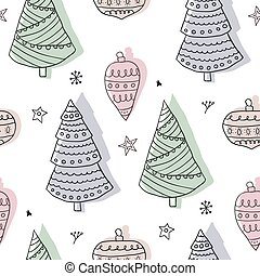 Christmas seamless pattern, scandinavian doodle style
