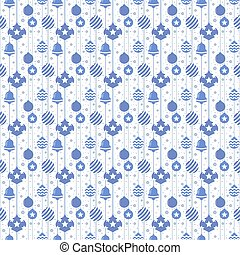 Christmas seamless pattern with balls in blue color