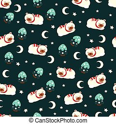 Christmas seamless pattern with bear.eps