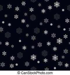 Christmas seamless pattern with big and small detailed white snowflakes on dark blue background, vector EPS 10
