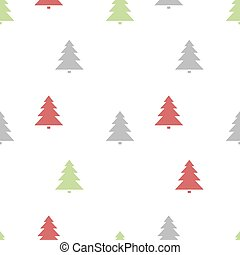Christmas seamless pattern with colored trees on a white background