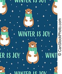 christmas seamless pattern with cute bear, vector illustration