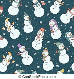 Christmas seamless pattern with cute snowmen and falling snow