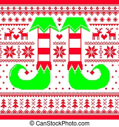 Christmas seamless pattern with elf and reindeer, red and...