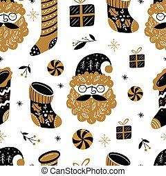 Christmas seamless pattern with gifts in Scandinavian style