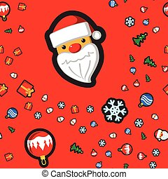 Christmas seamless pattern with holiday toys and symbols in flat cartoon style