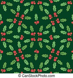 Christmas seamless pattern with holly on a green background