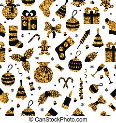 Christmas seamless pattern with many winter golden toys. Vector illustration.