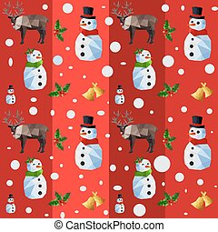 Christmas seamless pattern with origami snowman and reindeers on red background