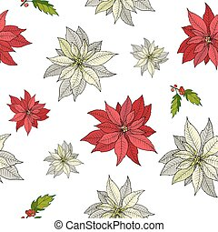 Christmas seamless pattern with red and white poinsettia