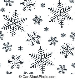 Christmas seamless pattern with snowflakes on a white background.