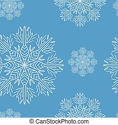 Christmas seamless pattern with snowflakes on blue background