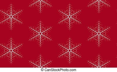 Christmas seamless pattern with snowflakes on red background.