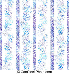 Christmas seamless pattern with snowflakes on white background and stripes colored with color pencils