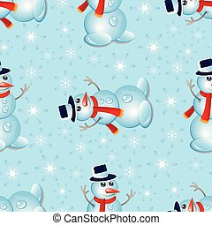 Christmas seamless pattern with snowman and snowflakes.