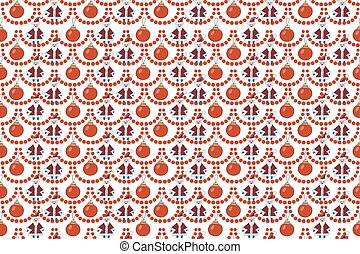 Christmas Seamless Pattern With Snowman, Christmas Ball, Snowflake. Vector Holiday Background For Wallpaper, Wrapping, Christmas Decorations.