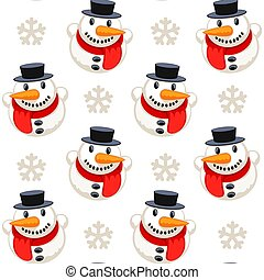 Christmas Seamless Pattern with Snowman Isolated