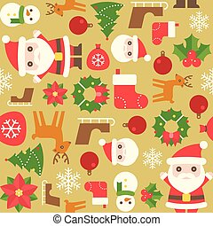 Christmas seamless pattern with sock, santa, christmas...