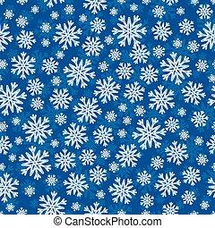 Christmas seamless pattern with white blue snowflakes