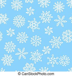 Christmas seamless pattern with white snowflakes on blue background. Vector illustration.