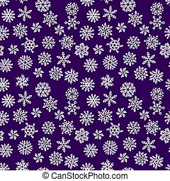 Christmas seamless pattern with white snowflakes on dark background. Vector illustration.