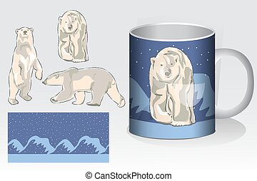 Christmas seamless patterns, Mug and mock up with polar bear Concept for design of fabric and paper for printing