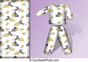 Christmas seamless patterns, Pajamas and mock up at mouse and cheese Concept for design of fabric and paper for printing