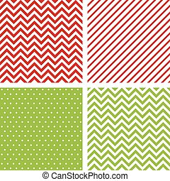Christmas seamless patterns. Set of minimal backgrounds for decoration in traditional Christmas colors