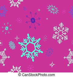 Christmas seamless red background with a set of randomly drawn beautiful snowflakes