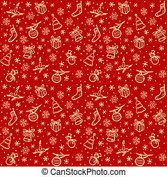Christmas seamless red vector background with tree, toy,...