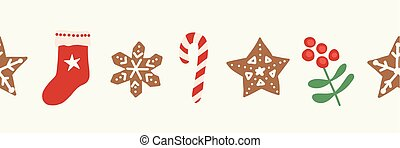 Christmas seamless vector border. Repeating Holiday design hand drawn. Gingerbread star cookie, candy cane, stocking, holly berry. For card decoration, ribbon, trim, party invitation, kids celebration