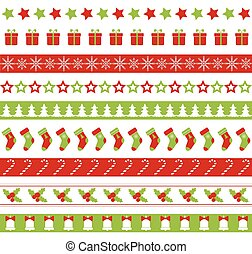 Christmas seamless vector borders. Endless ornament