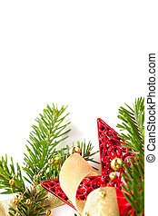 Christmas seasonal background with spruce and golden beads isolated