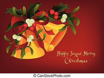 Christmas seasonal greeting card A Holly Jolly Merry Christmas and jingle bells