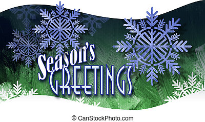 Christmas Season's Greetings with snowflake ornaments on wave background