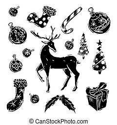 Christmas set black and white