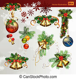 Christmas vector set of fir tree and evening balls, new year%u2019s bells and festive bells