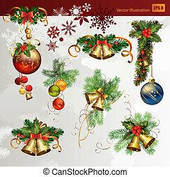 Christmas set - Christmas vector set of fir tree and evening...