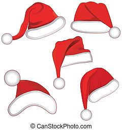 Christmas set collection hat of santa for your design. Vector llustration.