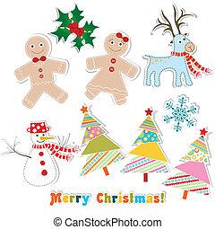 Christmas set for greeting card, vector