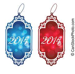 Christmas set labels isolated on white background