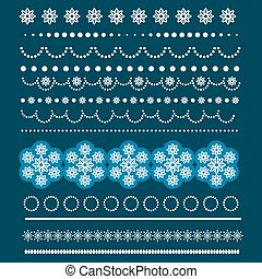 Christmas set of Borders with Snowflakes.