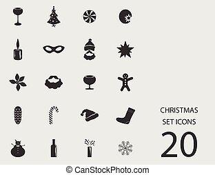 Christmas set of flat icons. Vector illustration