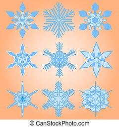 Christmas set of nine snowflakes