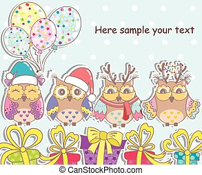 Christmas set of owls, gifts,