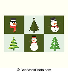 Christmas set of snow man and trees